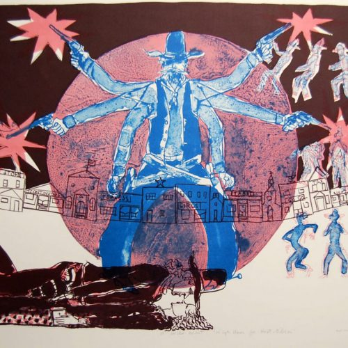 Warrington-Colescott-High-Noon-for-Hoot-Gibson-Original-Signed-Lithograph_20170224_4716