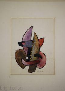 Sorel Etrog Framed Watercolor 1958 726
