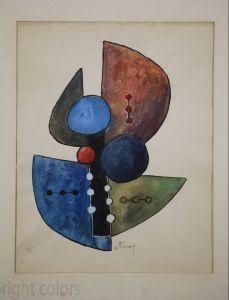 Sorel Etrog Framed Watercolor 1958 745