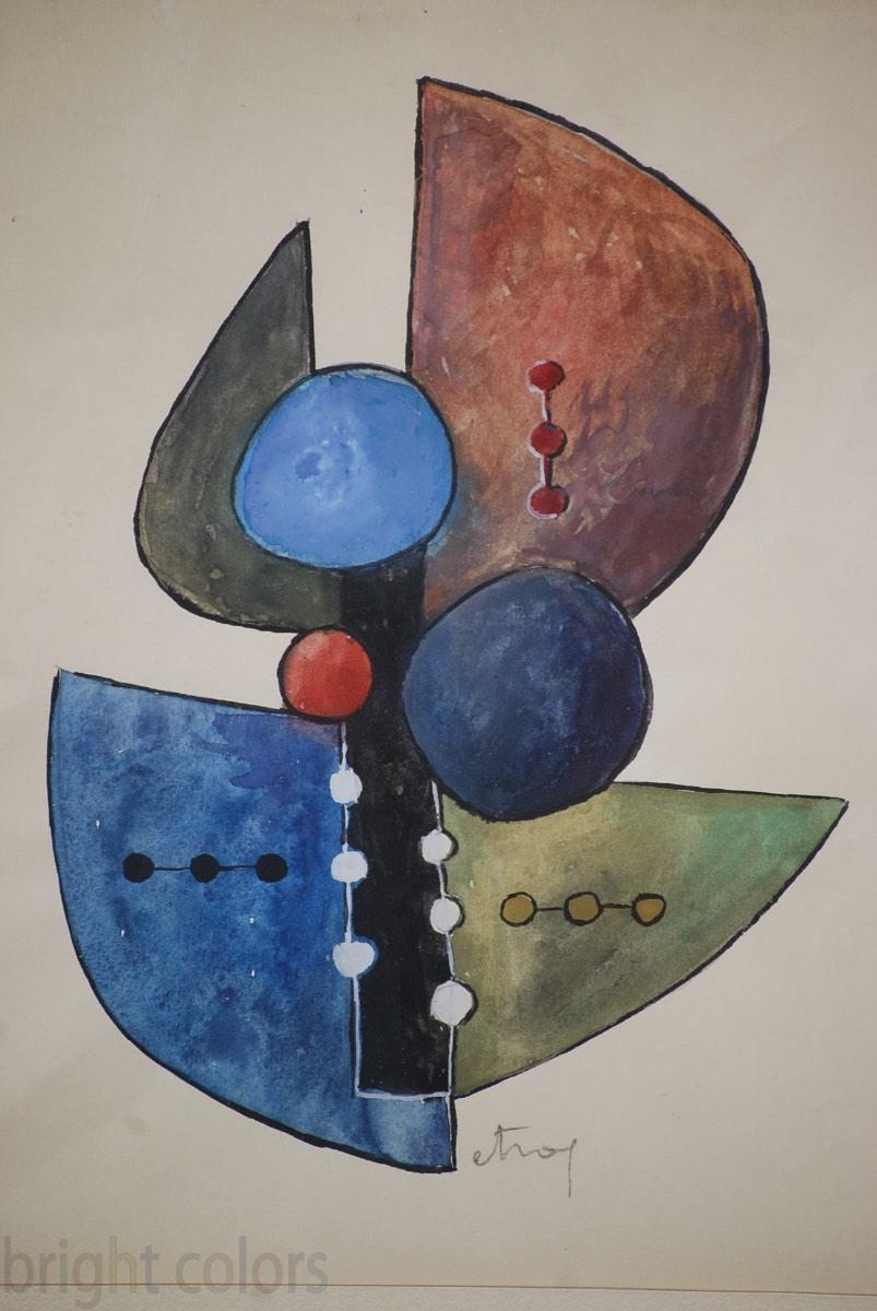Sorel Etrog Framed Watercolor 1958 751