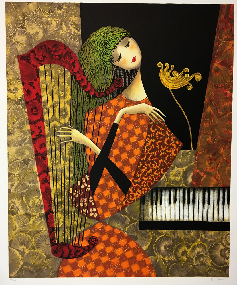 Jade Nile nile jade harp 1998 signed lithograph on arches paper mourlot paris
