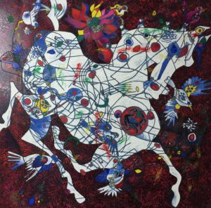 TIE-FENG-JIANG-White-Horse-Large-Canvas-Serigraph749