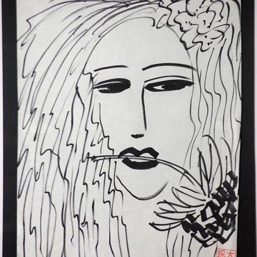 Walasse-Ting-2001-Woman-with-Flower-Framed-Painting-Acrylic-on-Rice-paper-Framed-34-x-3620171116_0473