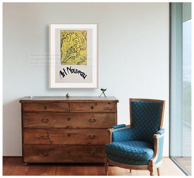 Ranson Tiger Art Nouveau Print Framed