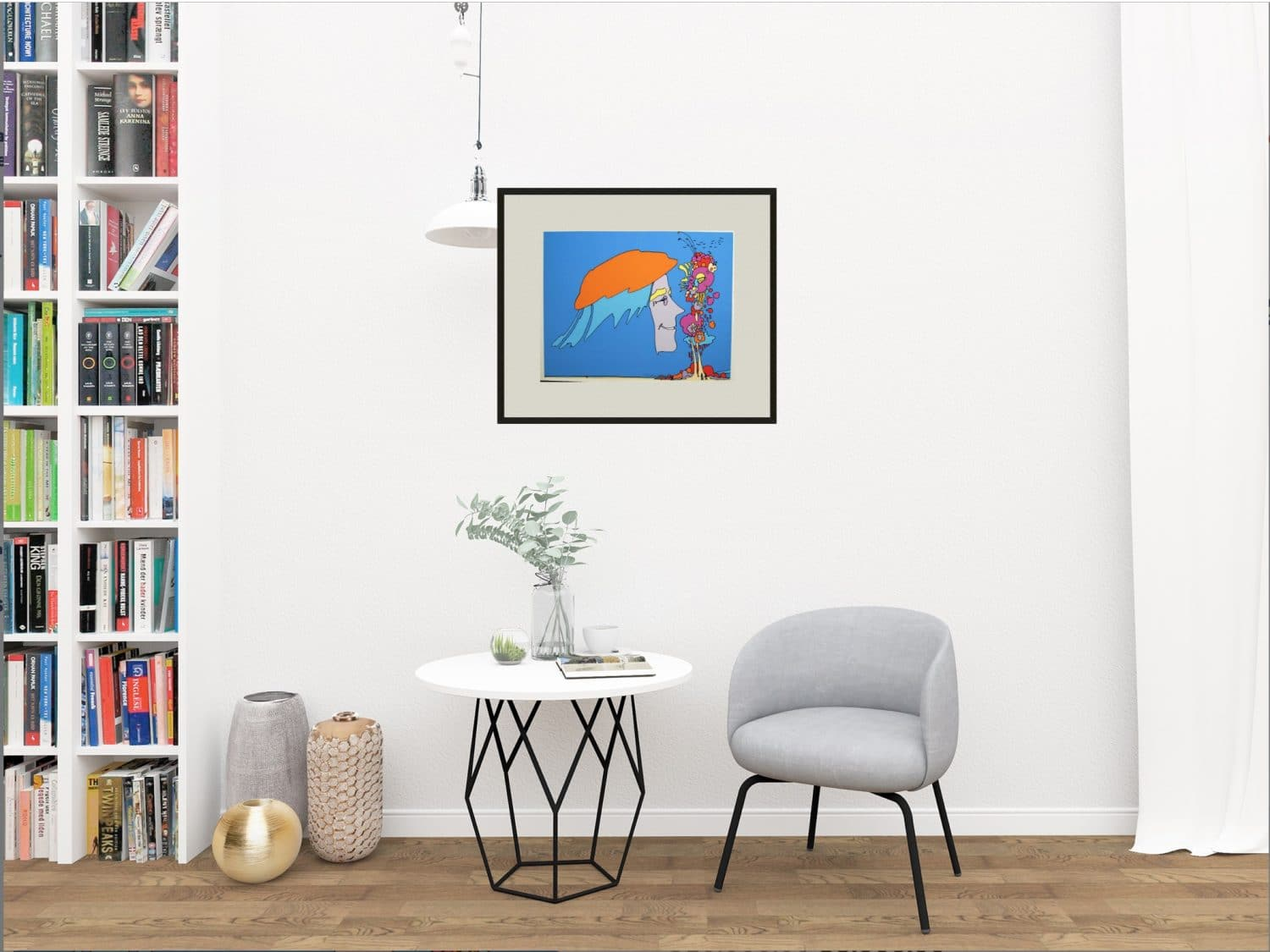 Peter Max framed on wall in modern room