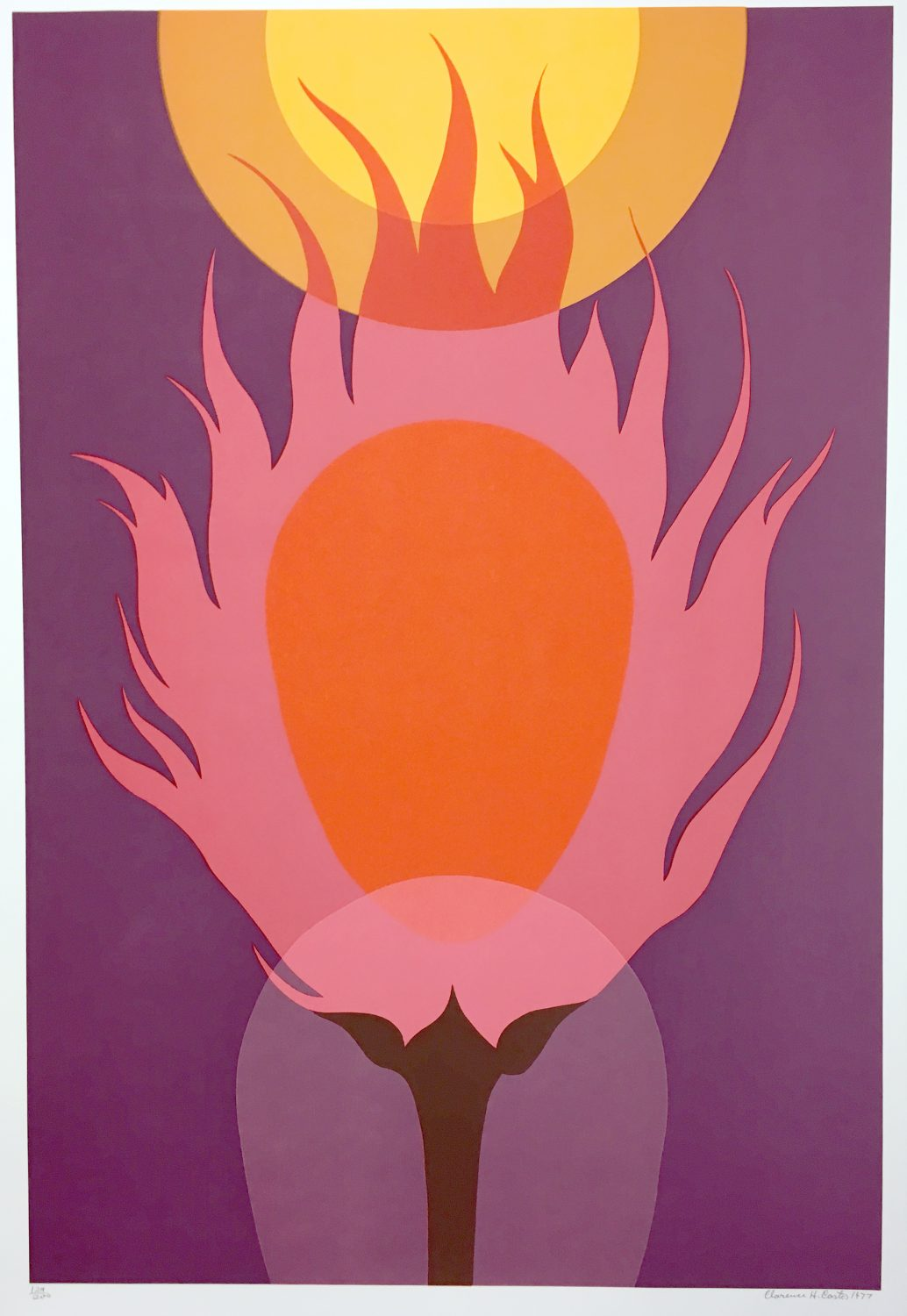 Clarence Carter 1978 Burning Bush Signed Limited Edition Silkscreen Large Abstract Art (2)
