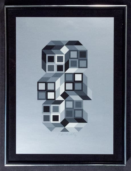 Victor-Vasarely-Composition-Silver-Original-Abstract-Signed-Art-Framed-380442174990