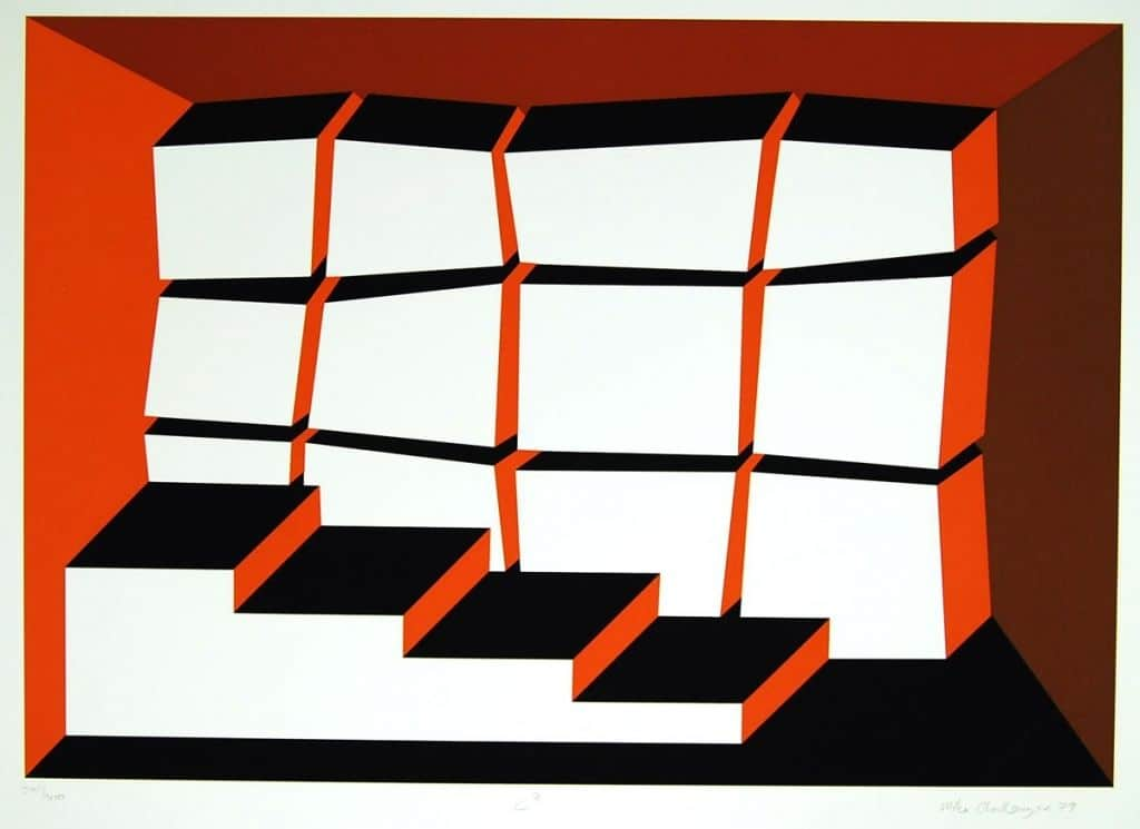 Michael-Challenger-C2-Original-Hand-Signed-Art-Silkscreen-Geometric-Abstract-380950630701