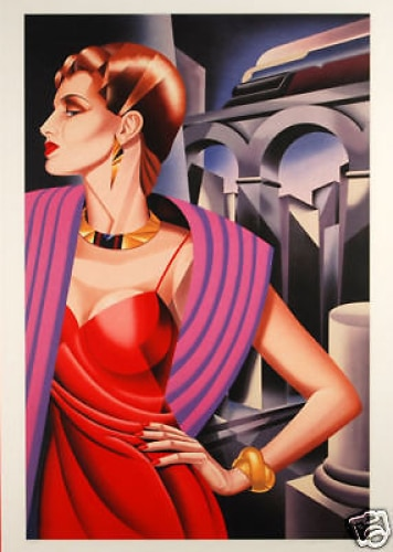 Thorne-Whitney-RED-DRESS-Framed-Signed-art-380442175055