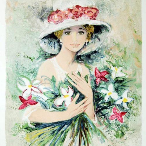Bernard-Charoy-Emma-aux-bouquet-2000-Original-Signed-Print-Art-Lithograph-380959577516