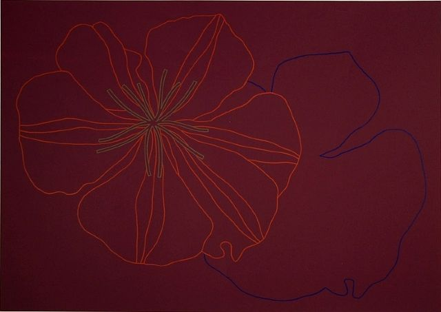 Derrick-Greaves-Flower-and-Shadow-Signed-Art-1970-380442175047